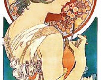 Mucha Art Nouveau Lady Profile Fabric Crazy Quilt Block Free Shipping World Wide (A2