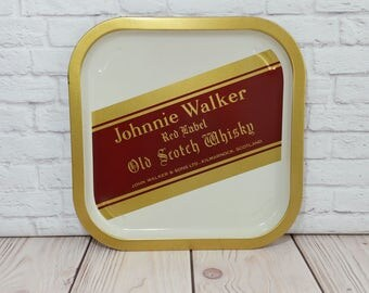 Vintage Johnnie Walker Red Label Whisky Square Tin Pub Tray