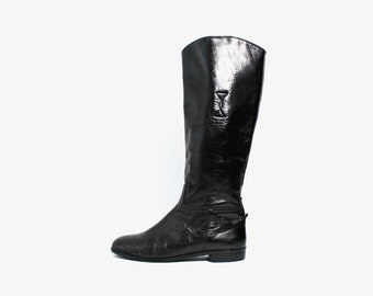 1970's Equestrian Black Leather Knee High Boots