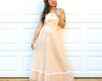 1970s Vintage Peach Polka Dot Prom Dress Pastel White Lace Formal Dress Peach Maxi Dress Ruffle Prom Dress Size Extra Small