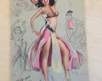 1940s Vintage Spanish Senorita Pin Up Girl Lithograph -  KO Munson - Mambo Mexico Spain ephemera