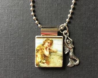 Handmade Mermaid jewelry, mermaid necklace, recycled scrabble tile jewelry, mermaid charm, mermaid pendant, summer jewelry, mermaid gift