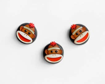 Sock Monkey Magnets. Back to School Home Office Decor, Animal Nursery Decoration, Teacher Gift, Kitchen Memo Boards. Handmade. Gift Set of 3