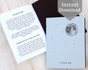Lunar Log Cover + 4 Pages - Digital - Printable PDF, Montessori, Educational, Notebook, Moon, Stars