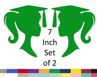 Graduation Cake Topper Girl Graduation Girl Silhouette Party Decorations Party Decoration Supply 7 Inch Set Of 2 Choose From 20 Colors