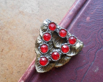 art deco brass vintage antique red rhinestone stone dress clip brooch  - antique costume jewelry