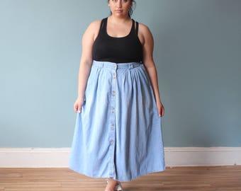 plus size skirt | full denim midi skirt | 1990s XXL