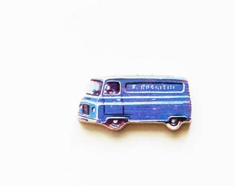 1960s Panel Van Brooch - Pin / Upcycled Vintage Hand Cut Wood Road Vehicle Puzzle Piece / Mid Century Blue / Unique Gift Under 30