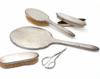 GORHAM CO 1930s STERLING Silver Classic 6 Piece Matching Vanity Set Hand Mirror Hair Brush Clothes Brush Manicure Scissor Nail Buffer