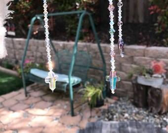 Swarovski Crystal Cross Car Charm Suncatcher, Suncatchers, Hanging Window Crystal, Christian Cross, Crystal Cross, Faith Cross, Easter