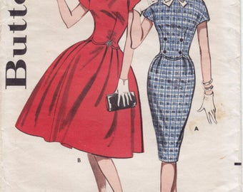 Vintage Pattern Butterick 9391 Dress with full or Slim Skirt 60s Size 16 B36