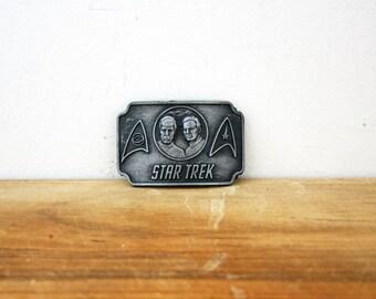vintage 70s Star Trek Kirk & Spock Lee Belt NY 1976 Metal Gunmetal Gray Belt Buckle