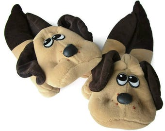 Vintage Pound Puppies Slippers Size 7-8 Medium - Adult Slippers - 80s Cartoons - Animal Slippers - Dogs - Birthday Gift for 80s Child