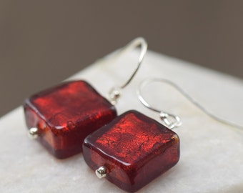 Valentine's Day gift Garnet earrings made of red Murano glass for January birthstone gifts for her