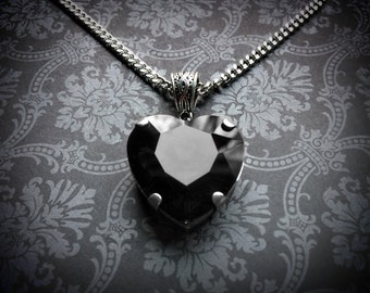 Black Heart Necklace - Gothic Necklace - Gothic Wedding Jewelry - Black Crystal Heart Necklace - Gothic Jewelry - Victorian Necklace