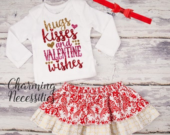 Baby Girl Valentines Day Outfit, Baby Girl Clothes, Toddler Girl Clothes, Hugs Kisses Valentines Wishes Glitter Top and Twirl Skirt