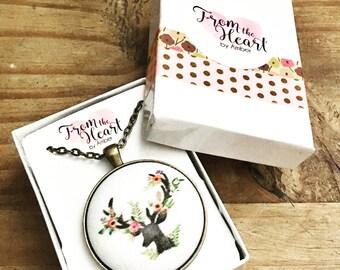 Handmade Fabric Pendant Necklace-Deer Antler Necklace-Deer Pendant-Antler Jewery
