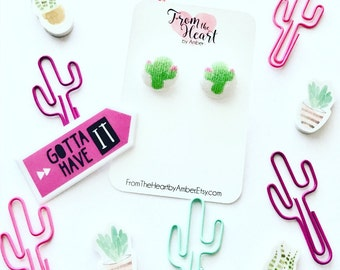 Fabric Button Cactus Earrings, Cactus, Southwestern, Covered Jewelry, Earrings, Stud Earrings