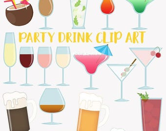 Cocktail clip art set, alcoholic drinks, wine, beer, martini, tropical beverages clipart (LC20)