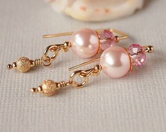 Crystal Pearl Earrings, Pink, Rose, Thread Earrings, Swarovski, Gold Filled - FROSTED ROSE