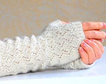 Knitting Pattern Trellis Lace Mitts PDF Digital Download