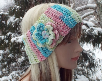 Pink Lime and Aqua Ear Warmer, Crochet Headband with Flower, Head Wrap, Womens Ski Band, Chunky Earwarmer, Winter Headband, Gift for Her