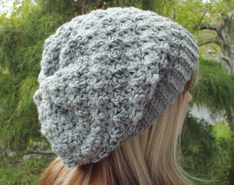 Marble Gray Crochet Hat, Womens Slouchy Beanie, Slouchy Hat, Oversized Slouch Beanie, Chunky Hat, Winter Hat, Slouch Hat