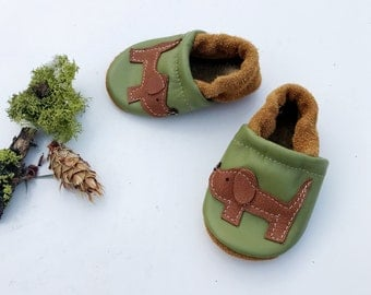 Green Doggies Soft Soled Leather Shoes Slippers Baby and Toddler