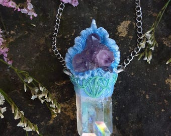 Angel Aura Quartz Necklace - Angel Aura Quartz with Amethyst Spirit Quartz and Pastel Swirls - Iridescent Rainbow Quartz - Aphrodelia