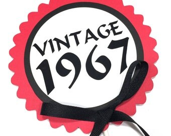 50th Birthday - Vintage 1968 Cake Topper Decoration, Candy Pick, Black, Red and White or Your Choice of Colors
