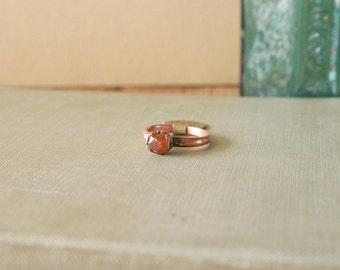 Raw Spessartine Garnet Ring Electroformed Copper Size 5.25