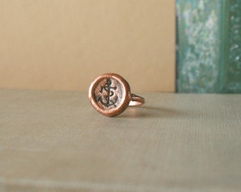 Stamped Anchor Copper Electroformed Ring size 7.5 - nautical, summer, beach