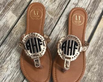 Rose Gold Monogram Sandals-Flip Flops-Monogram Shoes-Womens Shoes