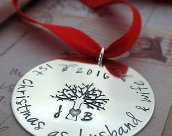 Our First Christmas as Husband & Wife - 1st Christmas Ornament in Sterling Silver - Personalized Christmas Tree Ornament by EWD