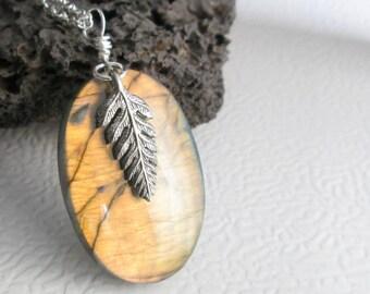 Natural Labradorite Necklace, Orange Stone Jewelry, Oval Rock Pendant, Pewter Leaf Charm
