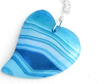 Blue Heart Pendant, Striped Agate Jewelry, Romantic Gift for Her