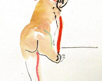 Nude painting- Original watercolor painting of Nude #1391 by Gretchen Kelly