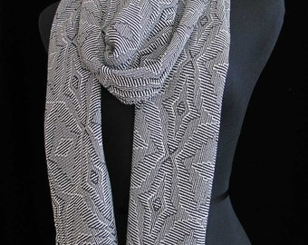 Handwoven Scarf Tencel Scarf Long Scarf Black and White Scarf Gift for Her Soft Scarf Summer Fall Scarf - Night Stars