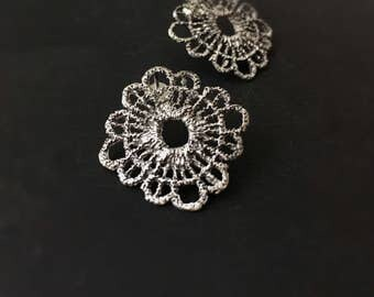 Boho earrings-Large filigree earrings-Sterling silver studs-Silver lace earrings-Bohemian jewelry-Statement earrings-Gift for her