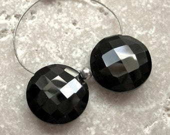 Black Spinel Faceted Coin Beads 11.75mm - Matched Gemstone Pair
