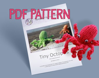Tiny Octopus Knit Toy Pattern PDF