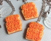 Handmade Alphabetti Spaghetti on Toast Charm - Choose Name, Initials or Word- Available on Necklace, Clasp or Lapel Pin