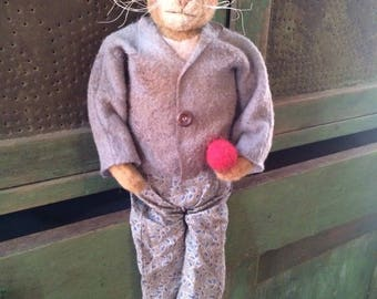 Primitive Olde Look Cat Doll Folk Art Sweetness