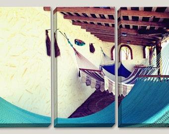 Hammock, Relax, Large Canvas Art, Surfer Photography, 3 Panel, Surfer, Ocean, Coastal, Sea, Vibrant, Hand Made, Crochet, Outdoor Living