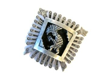 Southwestern stamped silver brooch - Native American - Early 1900s - Ceremonial dancer -