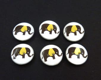 """6 Elephant Sewing Buttons. Brown Elephant with Bright Yellow Ears.    3/4"""" or 20 mm.  Novelty Buttons Handmade Washer and dryer Safe."""