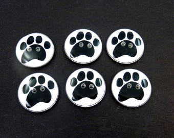 "6 Dog Paw Buttons. Handmade Buttons.  3/4"" or 20 mm or 5/8"" or 16 mm Round."