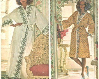 Vogue 1232 1970s Misses Robe Pattern Sant'Angelo Can Use Bordered Sheets Womens Vintage Sewing Pattern  Size 10 Bust 32 or Size 12