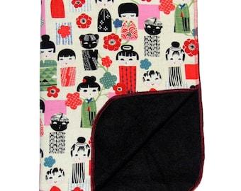 Geisha Blanket - Baby Blanket - Kokeshi Doll -  Toddler Blanket - MINI - Fleece Blanket - Stroller Blanket - Nursery Bedding - Cotton