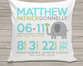 Birth announcement pillow elephant with birdie new baby gift custom birdie and elephant throw pillow BP-005